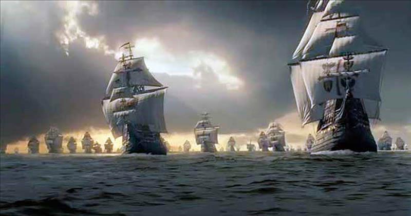 La Flota de Indias rumbo a España.