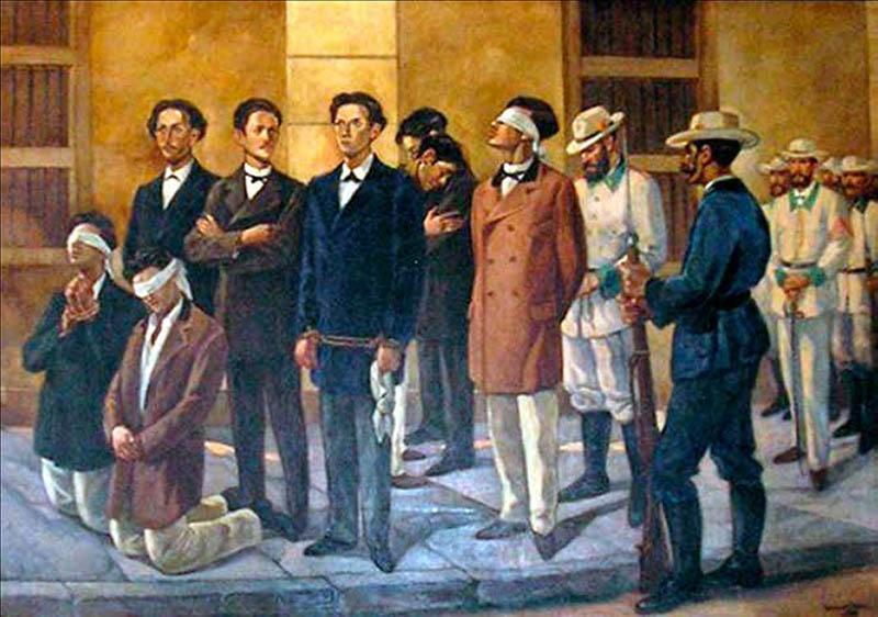 Fusilamiento de los estudiantes de medicina el 27 de noviembre de 1871. Cuadro del pintor Manuel Mesa Cubillo.