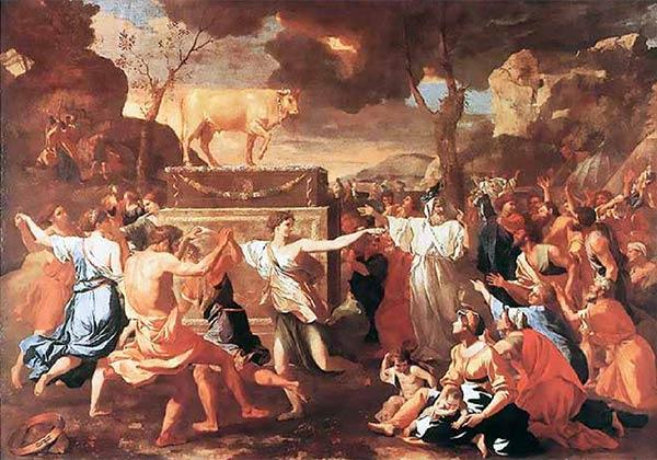 «La adoración del becerro de oro», óleo de Nicolás Poussin (1634).