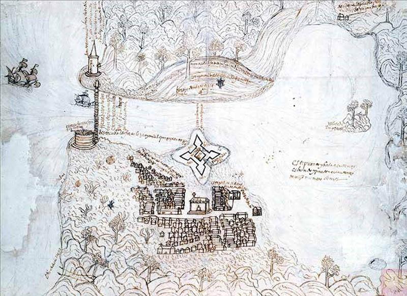 Plano del puerto de La Habana (1567). Original perteneciente al Archivo General de Indias.