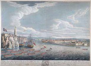 Escena del fin de la contienda: la ciudad le abre su recinto el 14 de septiembre a los invasores, que aguardaban junto a la cadena flotante del puerto.