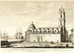 La Plaza de San Francisco, el sitio de mayor jerarquía urbana, fue nombrada por los ingleses Plaza Granby, en honor a uno de los jefes militares de la guerra, John Manners, marqués de Granby. En perspectiva, a la derecha del templo, la calle Oficios, con uno de sus balcones de madera labrada.