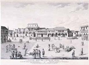 La Plaza del Mercado, hoy Plaza Vieja. el ingeniero Durnford, atraído por la magnitud de sus viviendas señoriales y el típico aspecto de plaza española cerrada con galerías, delineó el perímetro de sus arcadas y balcones.