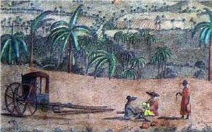 Detalle del grabado Vista de la bahía y ciudad de La Habana, tomada desde Jesús del Monte. Primer paisaje realizado en la isla que representa la presencia de la palma real en nuestros campos y el perfil de la volanta, carruaje típico.