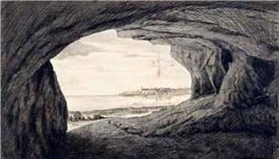 Salón de la cueva Taganana con el Morro al fondo. Apunte del teniente Archibald Robertson es su diario de operaciones que capta la caverna, un sitio que años antes se había clausurado por servir de refugio a delincuentes. Collections Archibald Robertson: his diaries and sketches in America, 1762-1780, New York public library, collection digital.