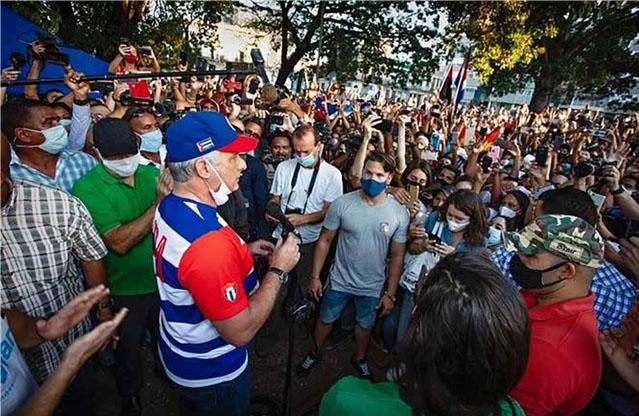 El presidente Miguel Díaz-Canel en un acto de masas en el Parque Trillo, de La Habana, el 29 de noviembre de 2020.